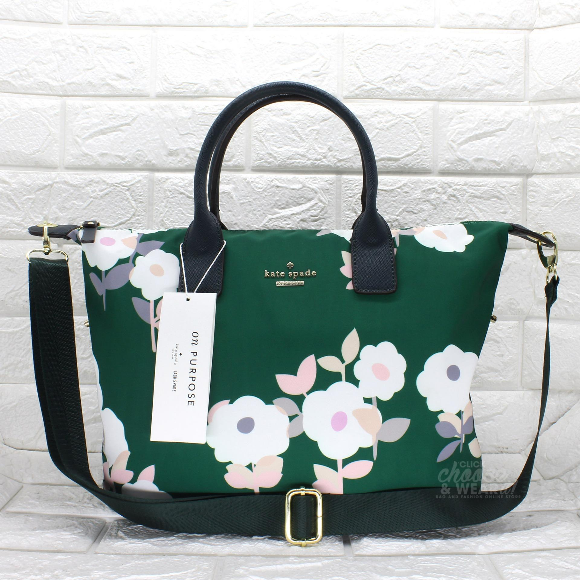 474f75b9e Authentic Kate Spade Tote Bag Classic Weekender Bag Lyla Rose Nylon with  Printed Flower - Green