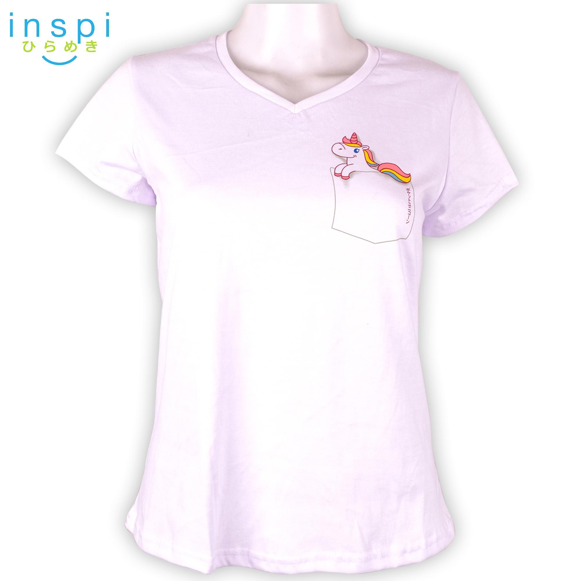 3626cad0564 INSPI Tees Ladies Semi Fit Pocket Unicorn (White) tshirt printed graphic tee  t shirt