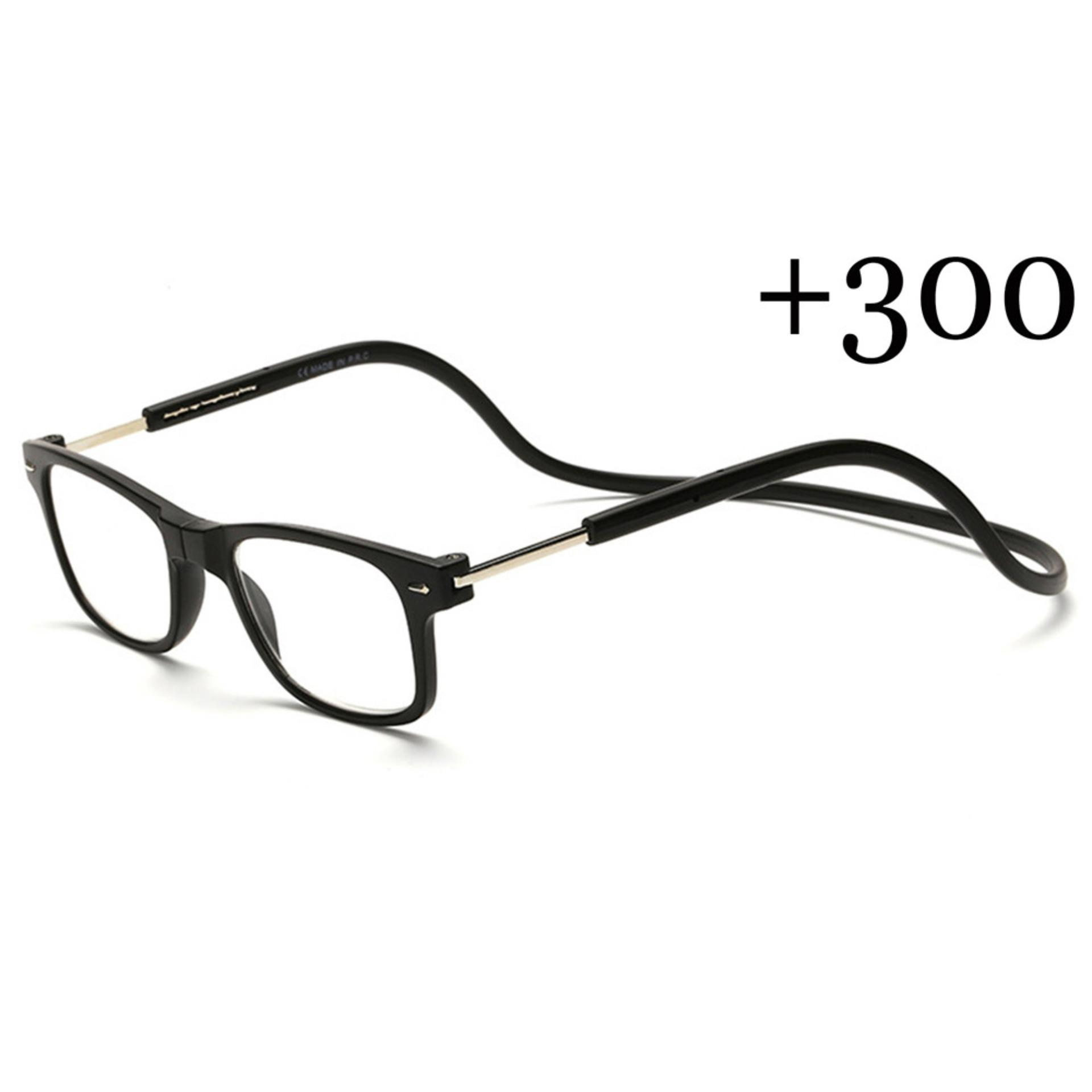 86d7633070d New Magnetic Folding Readers Reading Glasses +3.00 Neck Hang Unisex Black -  intl