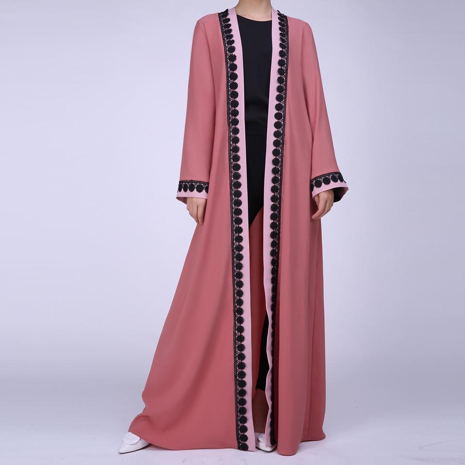 3336b8cbdd04 Woman Kaftan Abaya Clothing Muslim Open Front Islamic Jilbab Long Sleeve  Maxi Coat Red