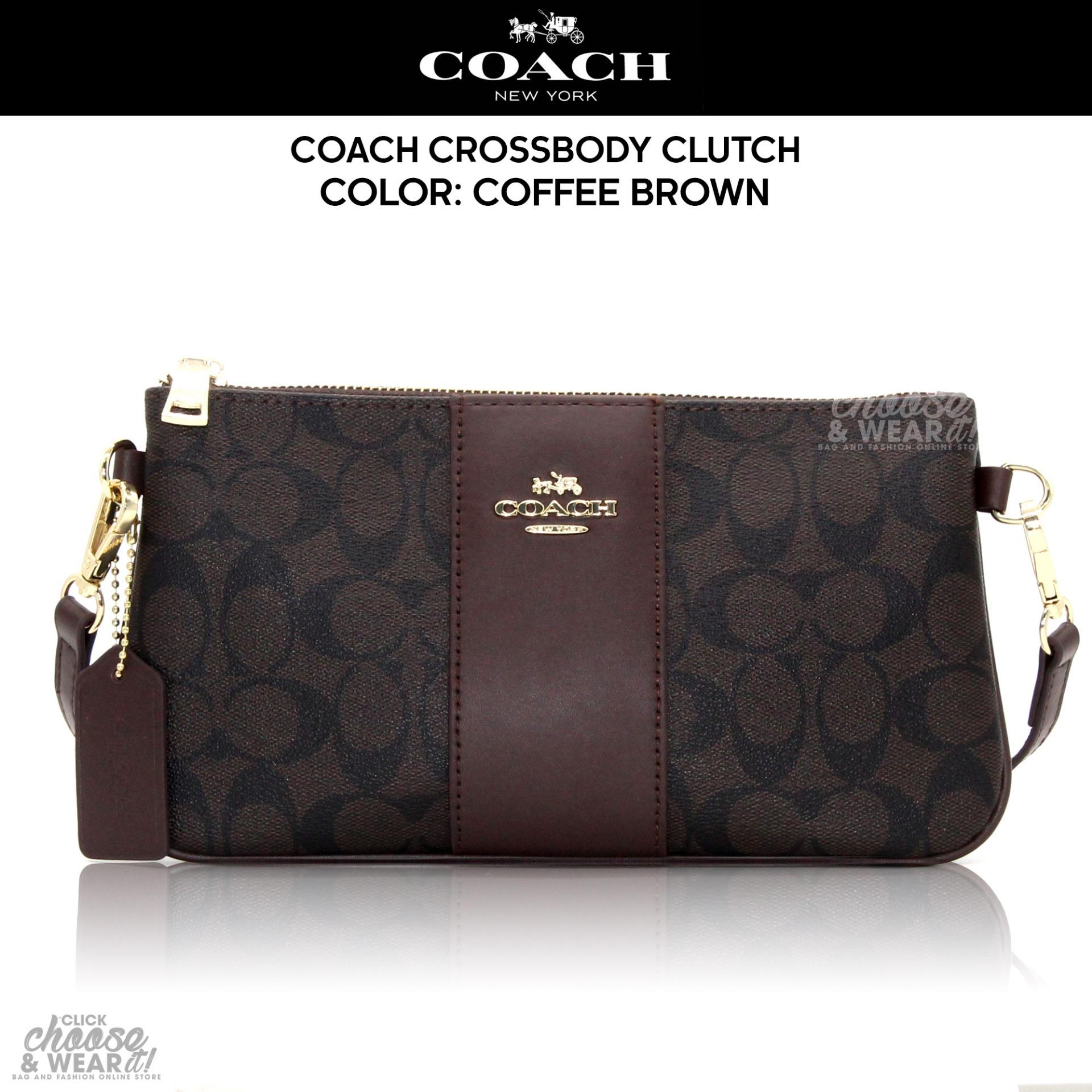 ... usa authentic coach signature coated canvas crossbody clutch sling bag  coffee brown 0a63c 39ba2 fd1a3c3188ba5