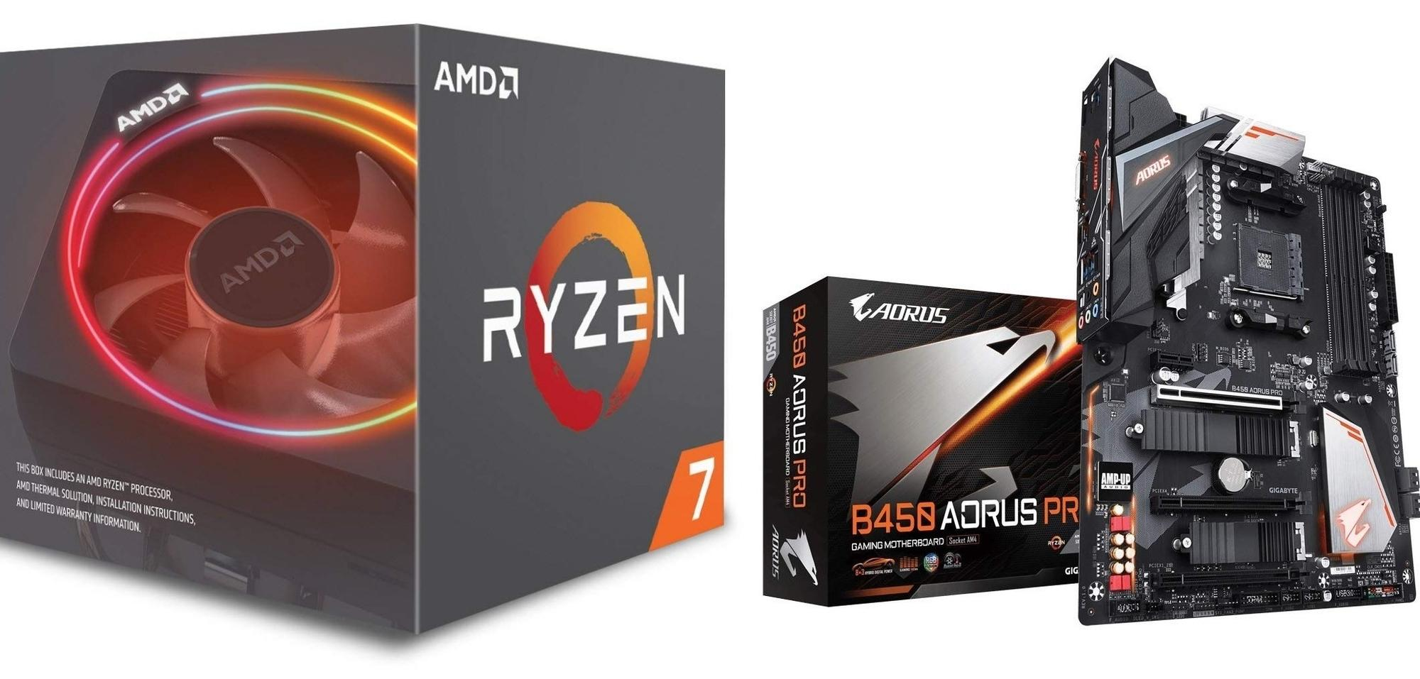 AMD Ryzen 7 2700X PROCESSOR BUNDLE with Gigabyte B450 AORUS PRO MOTHERBOARD