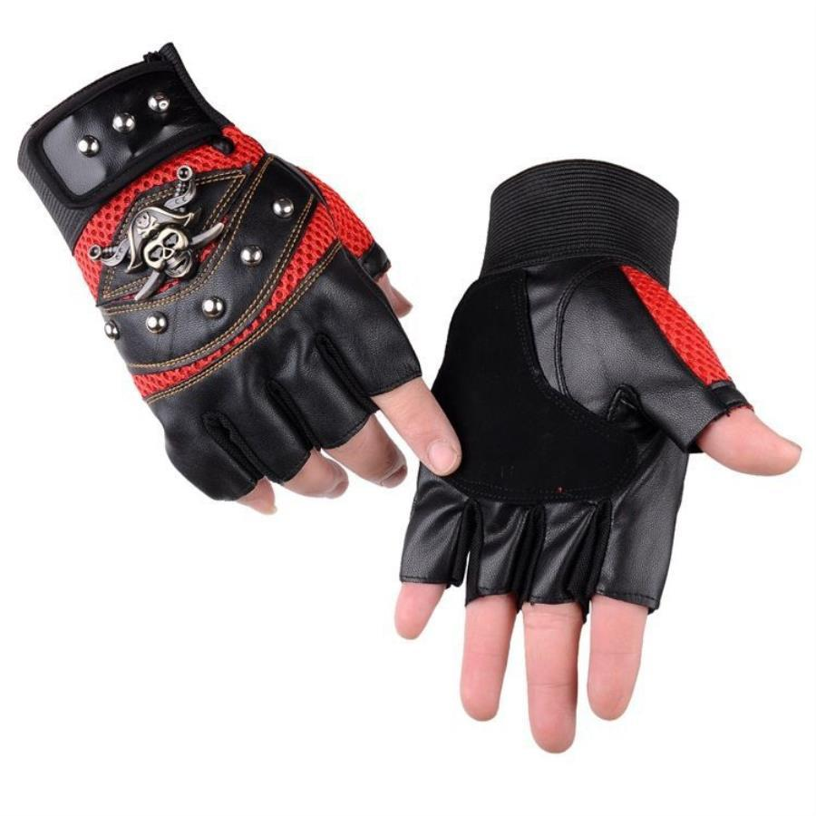TFS 1 Pair Motorcycle Glove Half Finger Cycling Gloves With Golden Skulls