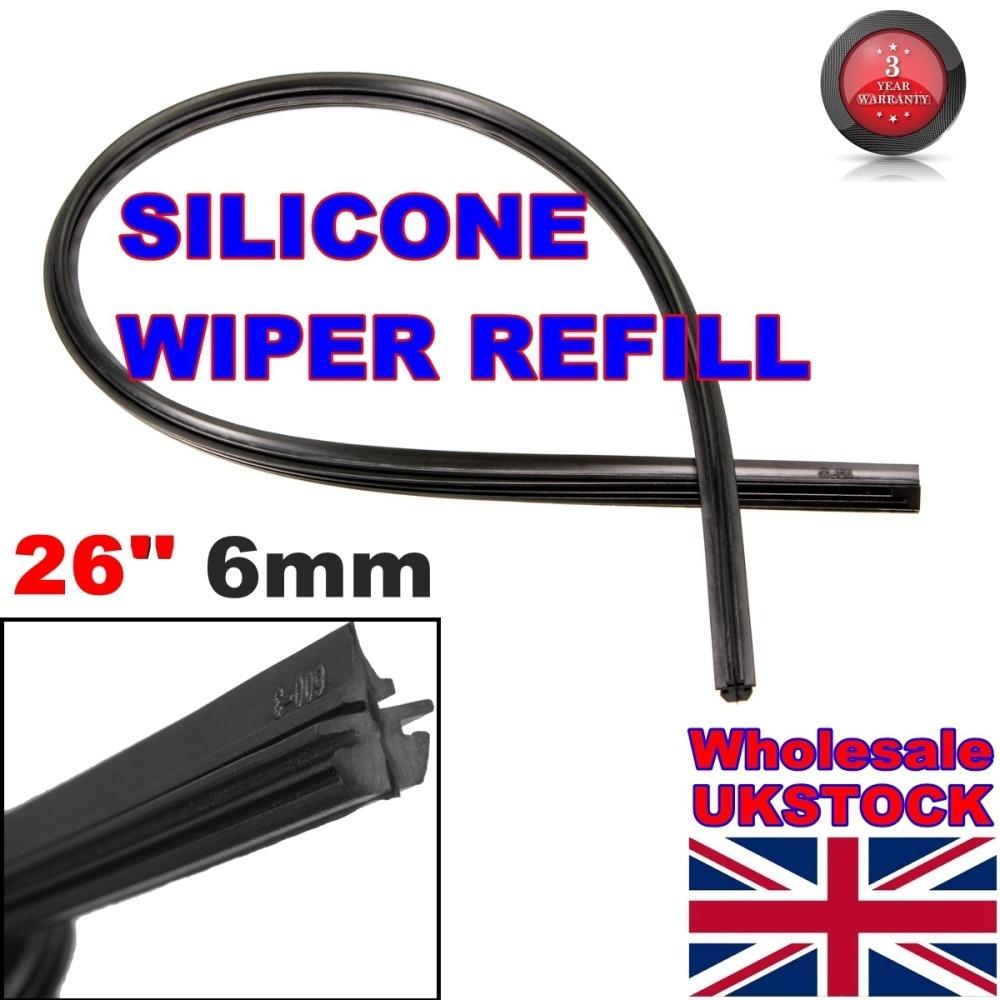 26 Inch 6mm Frameless Wind Shield Wiper Blade Refill for Car Silicone Universal ILS