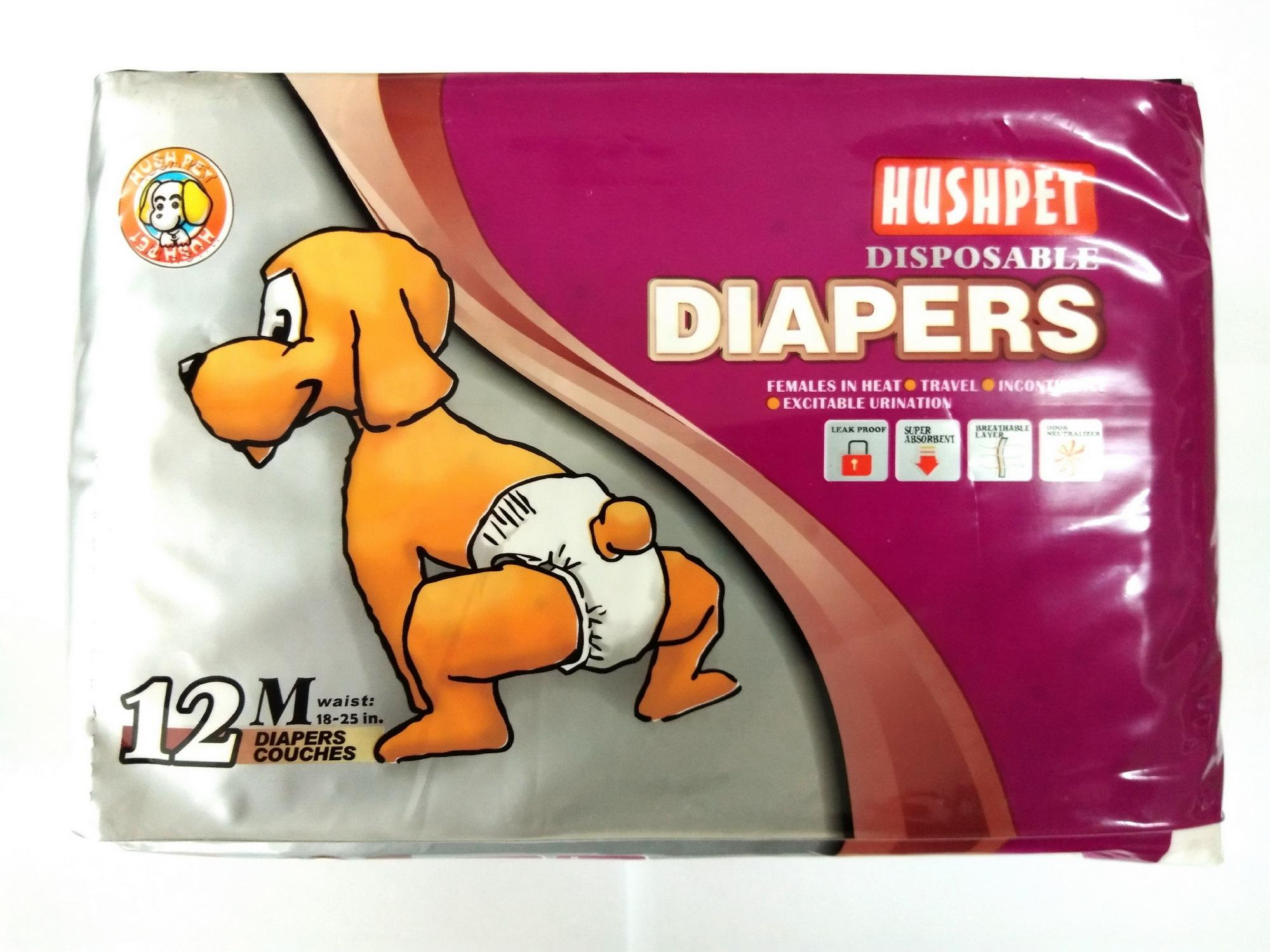 HushPet Dod Disposable Diapers Medium 12pcs.