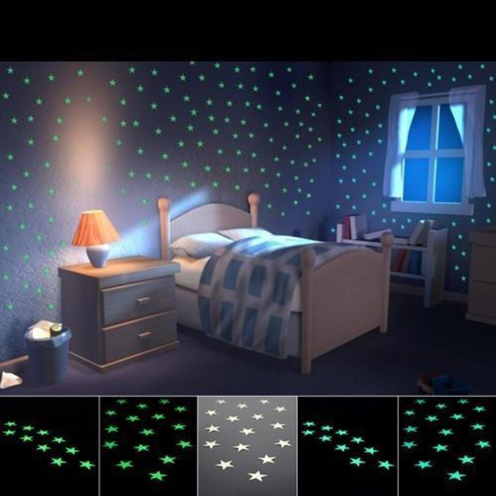 AMOG Kids Baby Bedroom Glow in the Dark Stars Wall Stickers 3D Art Wallstickers Decal 100