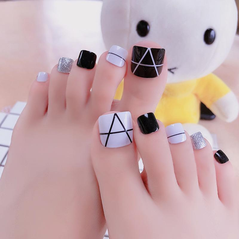 O-New 24pcs Korean Fashion Foot False Nails Fake Nail Stickers Philippines