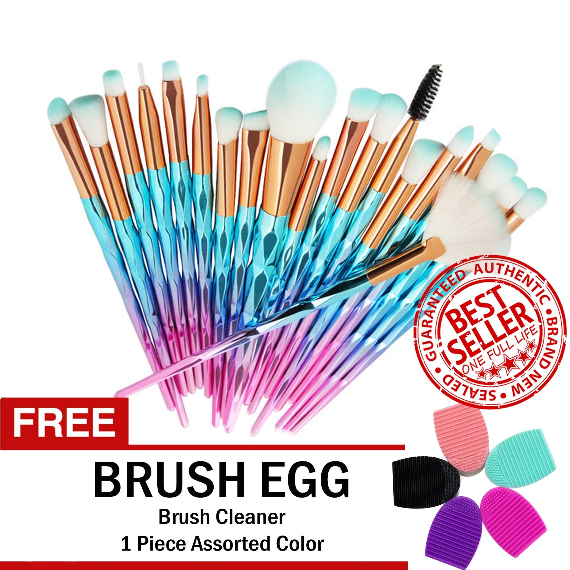 Unicorn Makeup Brush Set 20 MINT GREEN PINK FREE Brush Egg Brush Cleaner Philippines