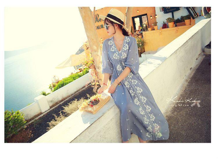 Korean Long-sleeved chiffon Wave point dress Women's clothing Busty Bohemian Dress S-XXL