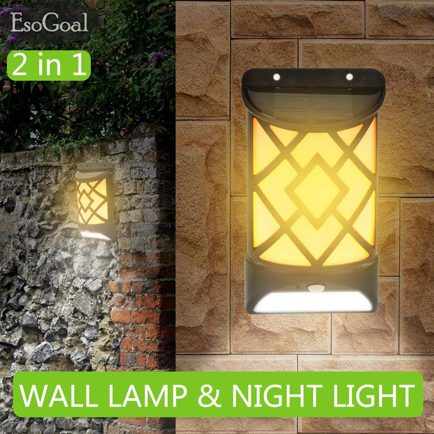 Outdoor Lighting For Sale Lights Prices Brands Review Light Unit And Method On Wiring A Switch To An Outside Esogoal 2 In 1 Solar Sensor Wall Flame Flickering Lamp Waterproof