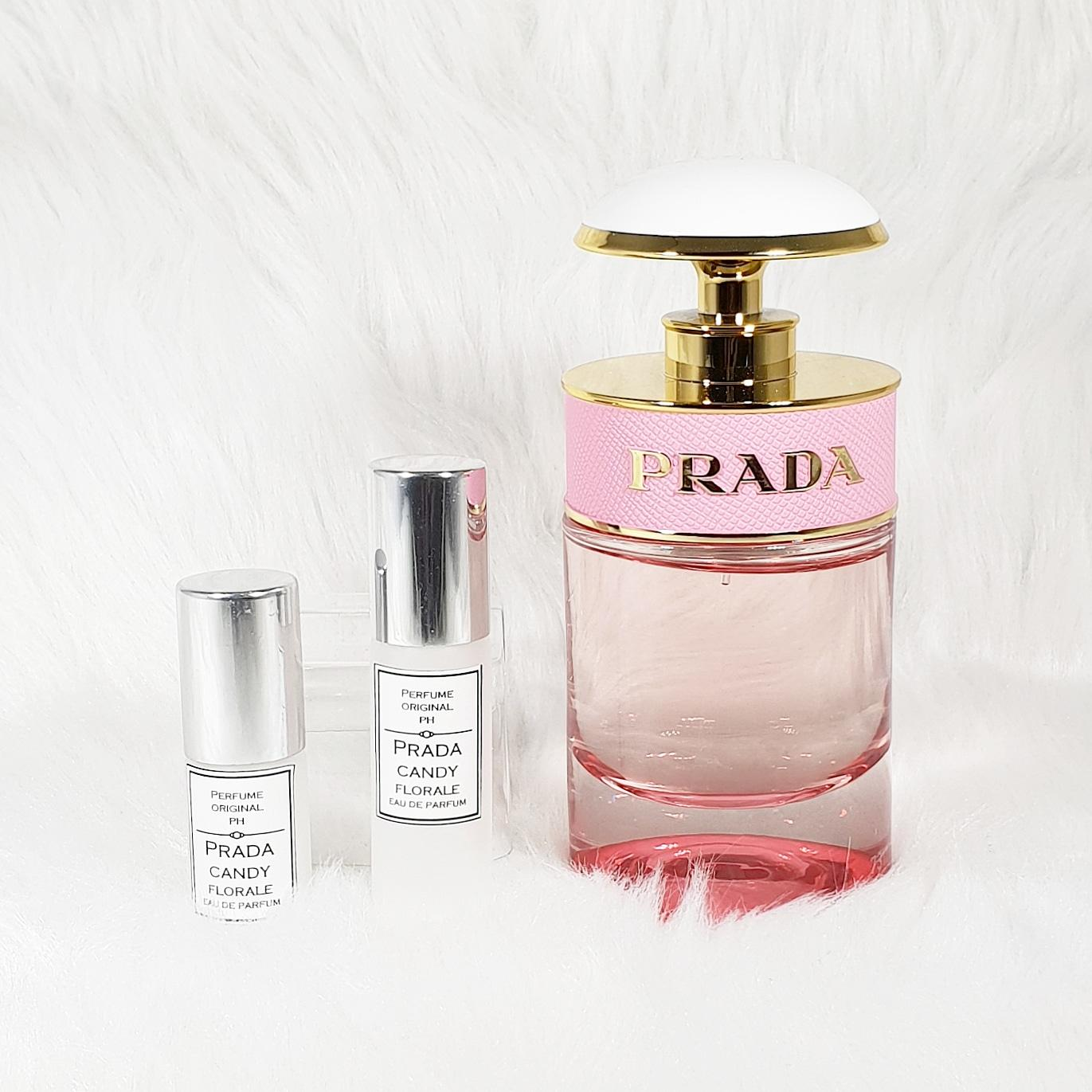 7362428a Prada Candy Florale 3ml perfume decant in white rollerball bottle (left  most)