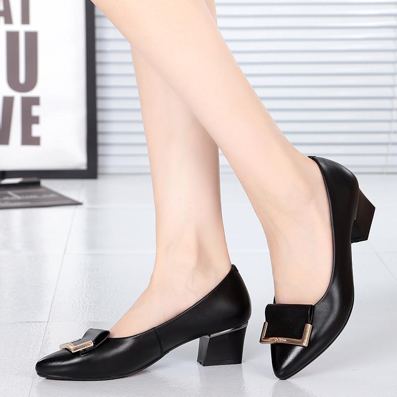 3876e2123d5 Leather Vocational women Shoes Black Leather Shoes Formal Wear Going to Work  Interview Shoes round Head