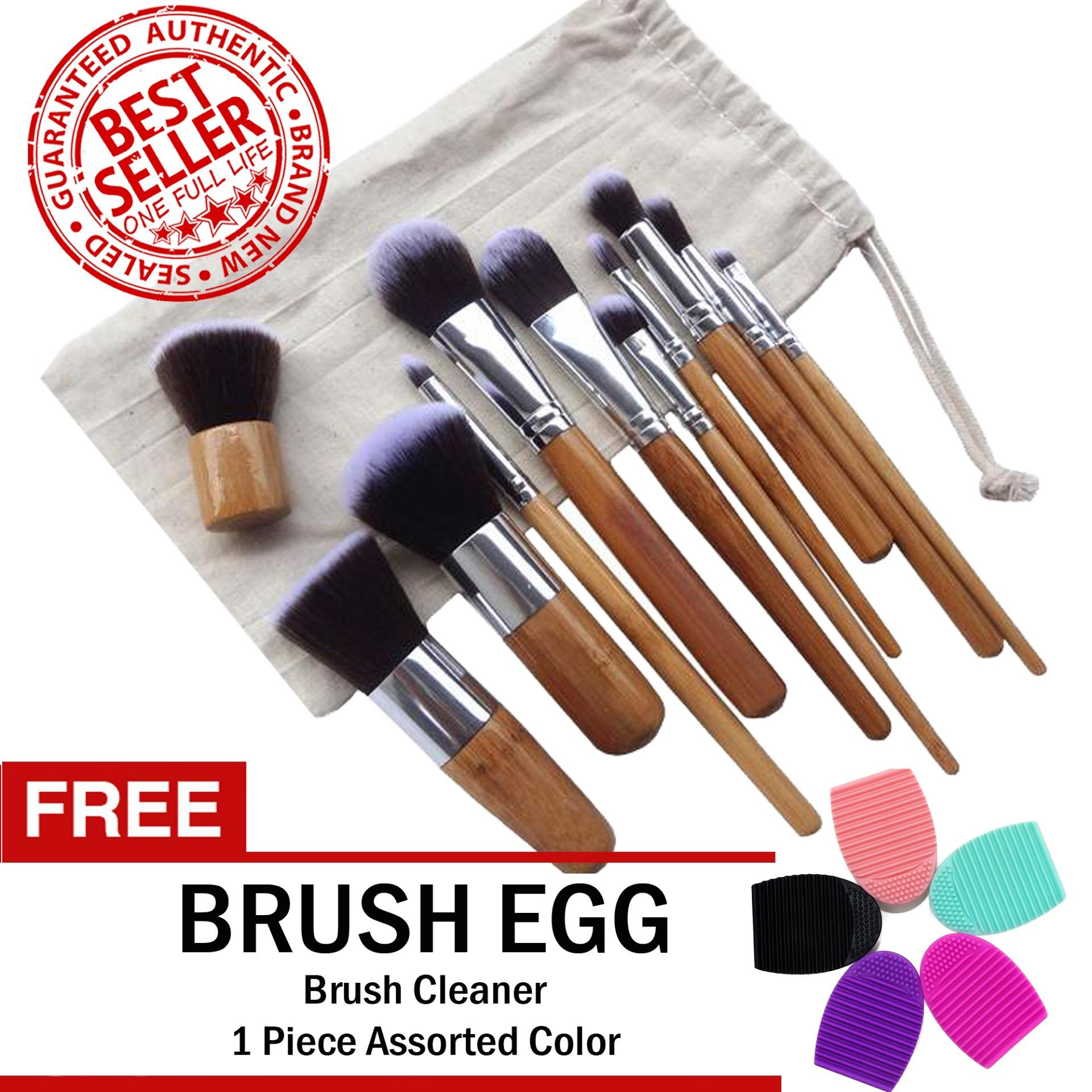 Professional Bamboo Make up Brush Set 11 Pieces FREE Brush Egg Brush Cleaner Philippines