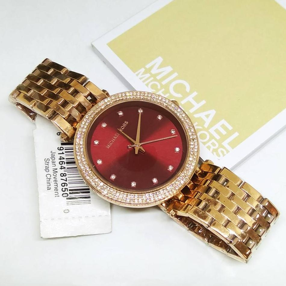 65db1036338d Michael Kors MK-3192 Darci Crystal Pave Bezel Maroon Dial Rosegold Plated Stainless  Steel Ladies