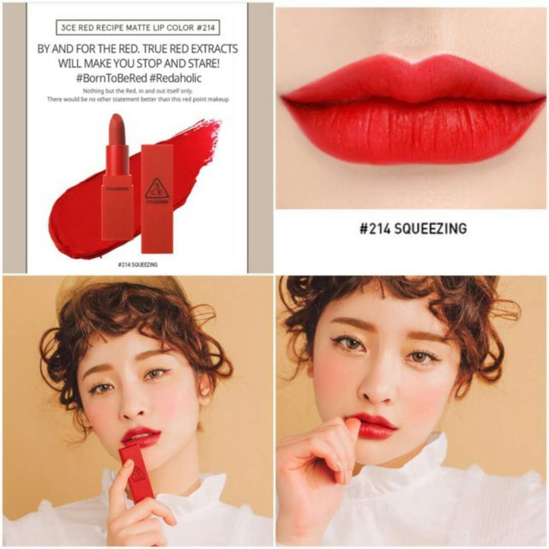 3ce Philippines Price List Korean Cosmetics Lip Tint For Mini Lipstick Authentic Red Recipe Color 214 Squeezing