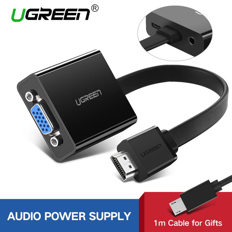 UGREEN HDMI to VGA Adapter Digital to Analog Video Audio Converter Cable  HDMI VGA Connector for Xbox 360 PS4 PC Laptop TV Box-Black