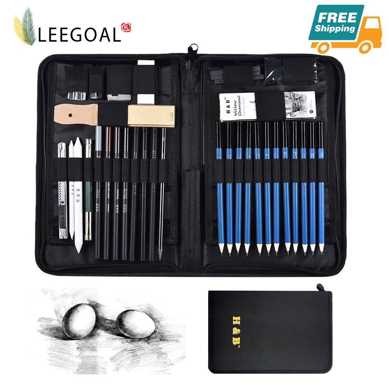 【Free Shipping】leegoal 40 Pcs Professional Art Sketching Pencils Set Drawing Pencils Set Charcoals