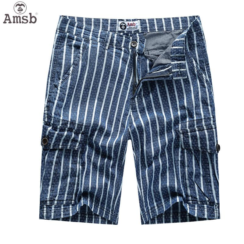 e77ba8c51b Amsb® Men's Trendy Stripe Shorts Multiple Pocket Shorts Plus Size