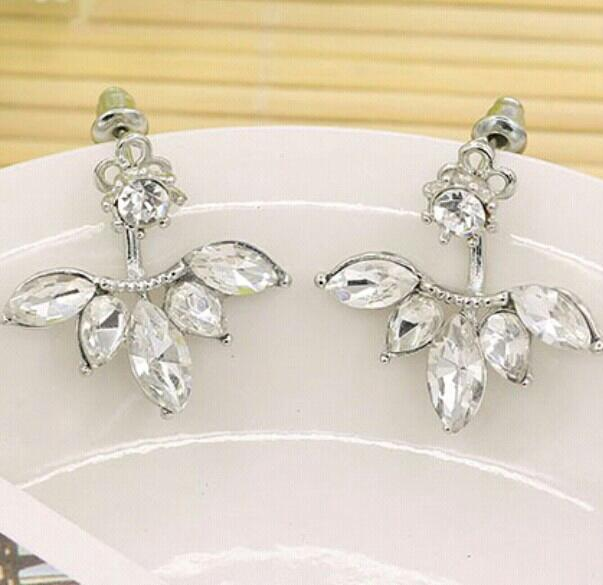 Cheap Cute Elegant Korean Rhinestone Leaf Dangle Women Earrings 2 in 1 style