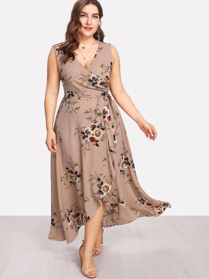 A1782 Pearl Chiffon Fl Plus Size Dress Brown L Xl