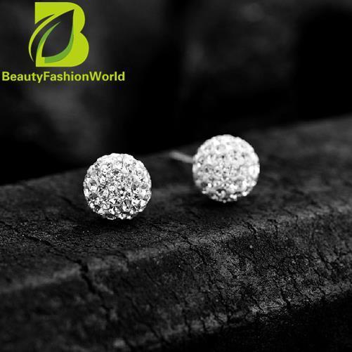 2015 High Quality Fashion Pair 925 Silver Crystal Ball Earrings 10mm Pub - intl