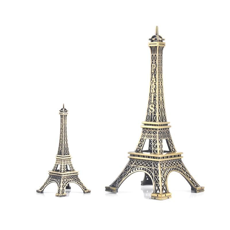 Paris Eiffel Tower Model Bronze Tone Decorative Furnishing Articles Decoration Vintage Craft Mold Figurine Statue Home