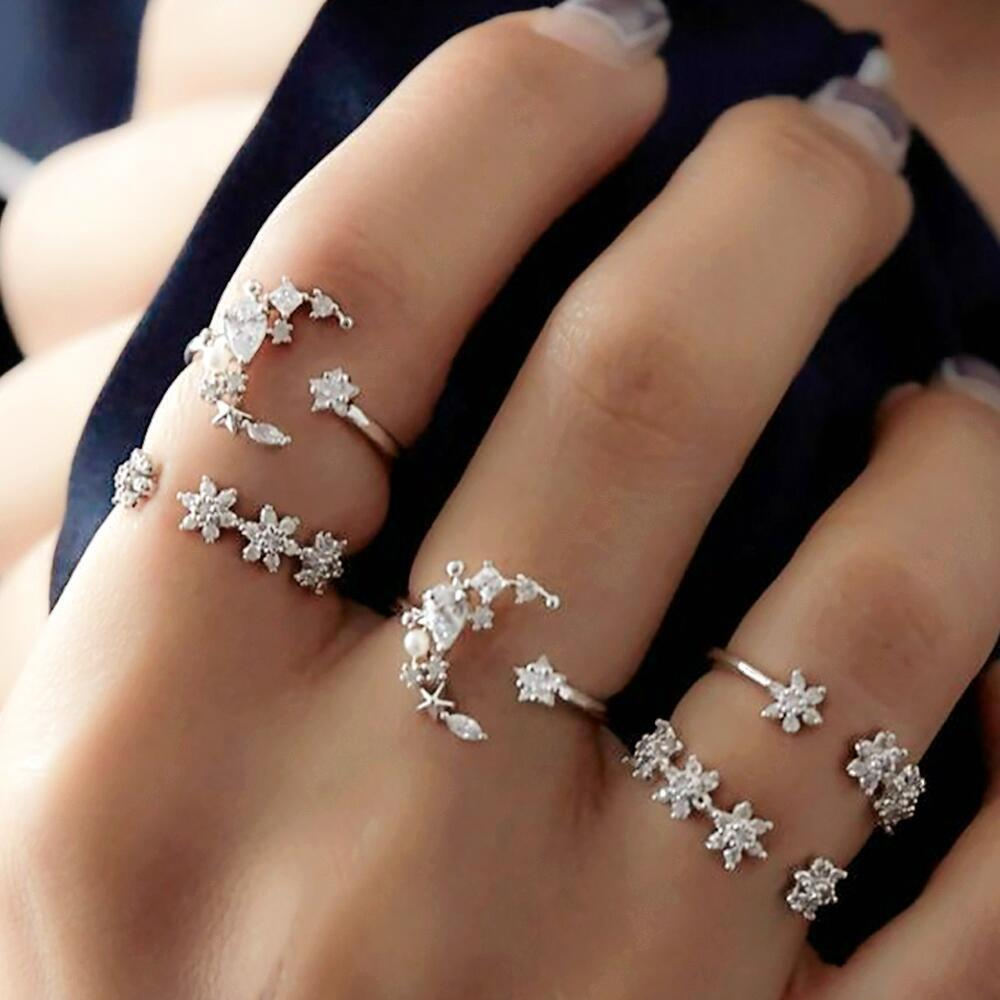 a98209b8e1 Korean style alloy ring 5 Rings Set New Bohemian Vintage Women Alloy Star  Moon Shape Finger