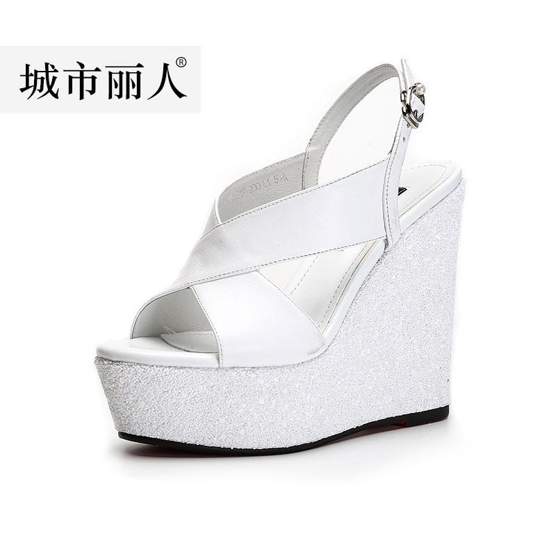 9f0e529b5a1 City Beauty Summer Leather Wedge Sandal women 2019 New Style Straight-line  Buckle Thick Bottomed