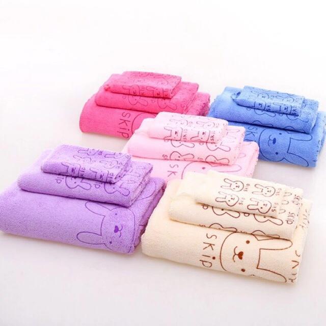 D H Store 3 in 1   set of 3 Cute Soft Animal Printed Bath Towel   f9f6f6b59