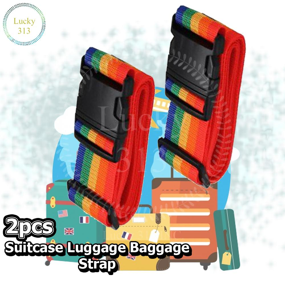 Suitcase Luggage Baggage Strap Multicolor 2pcs By Lucky313.