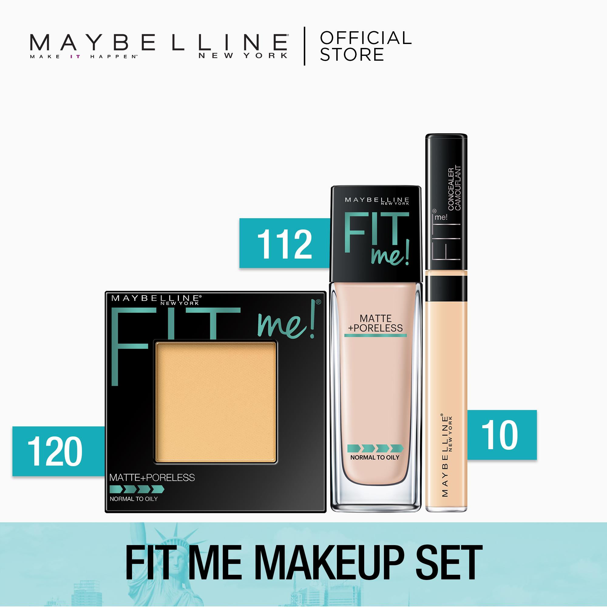 Fit Me Makeup Set: Fit Me Liquid Foundation 112 Natural Ivory + Fit Me Powder 120 Classic Ivory + Fit Me Concealer 10 Light by Maybelline Philippines