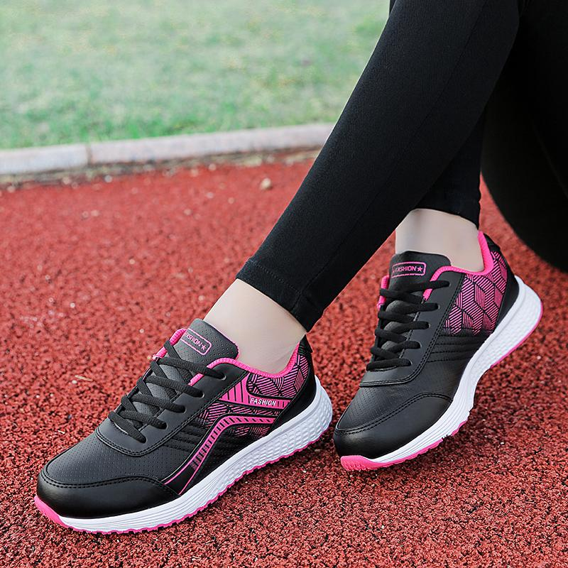 c15a17be262a Mom lightweight waterproof leather running shoes women shoes Rubber shoes  Sneakers (8175 Leather black and
