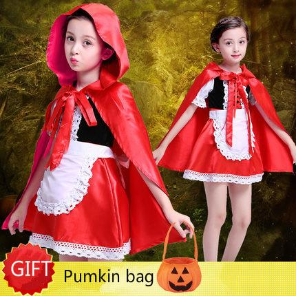 ab76094594604 Great-King Children cosplay Girl Little Red Riding Hood Meristmas Party  Cosplay Dress Princess Halloween Costume DS Clothes For Party