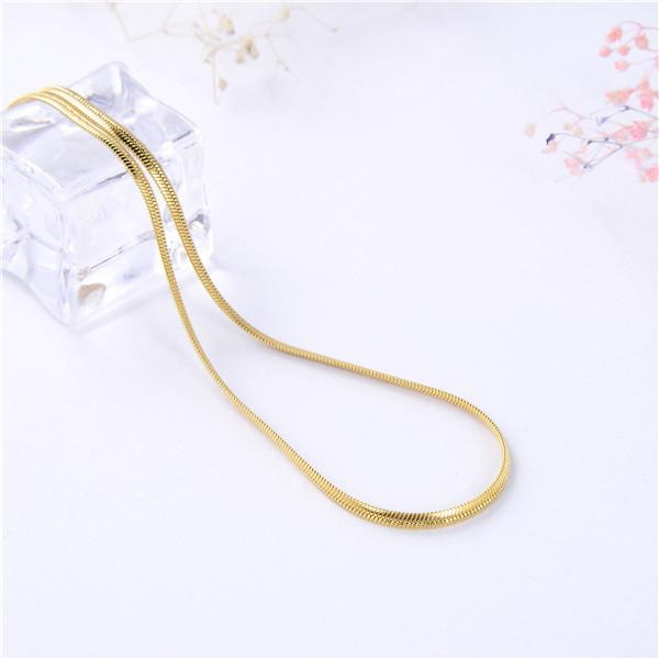 e6175d6ec44c LSjewelry High quality Stainless Gold plated 2.2mm Flat snake chain  necklace for Adult