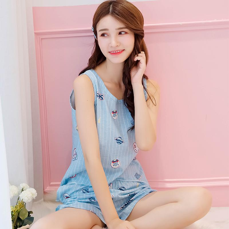 Korean Style Vest Pajamas women Summer Sleeveless Shorts Cute Cartoon Less  women Middle School Students Pure 8407e4d90