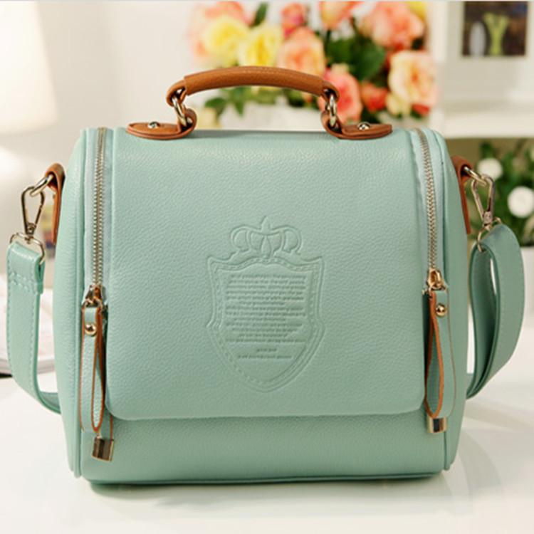 UISN MALL Korean version of the British double pull crown bag fashion trend shoulder bag #