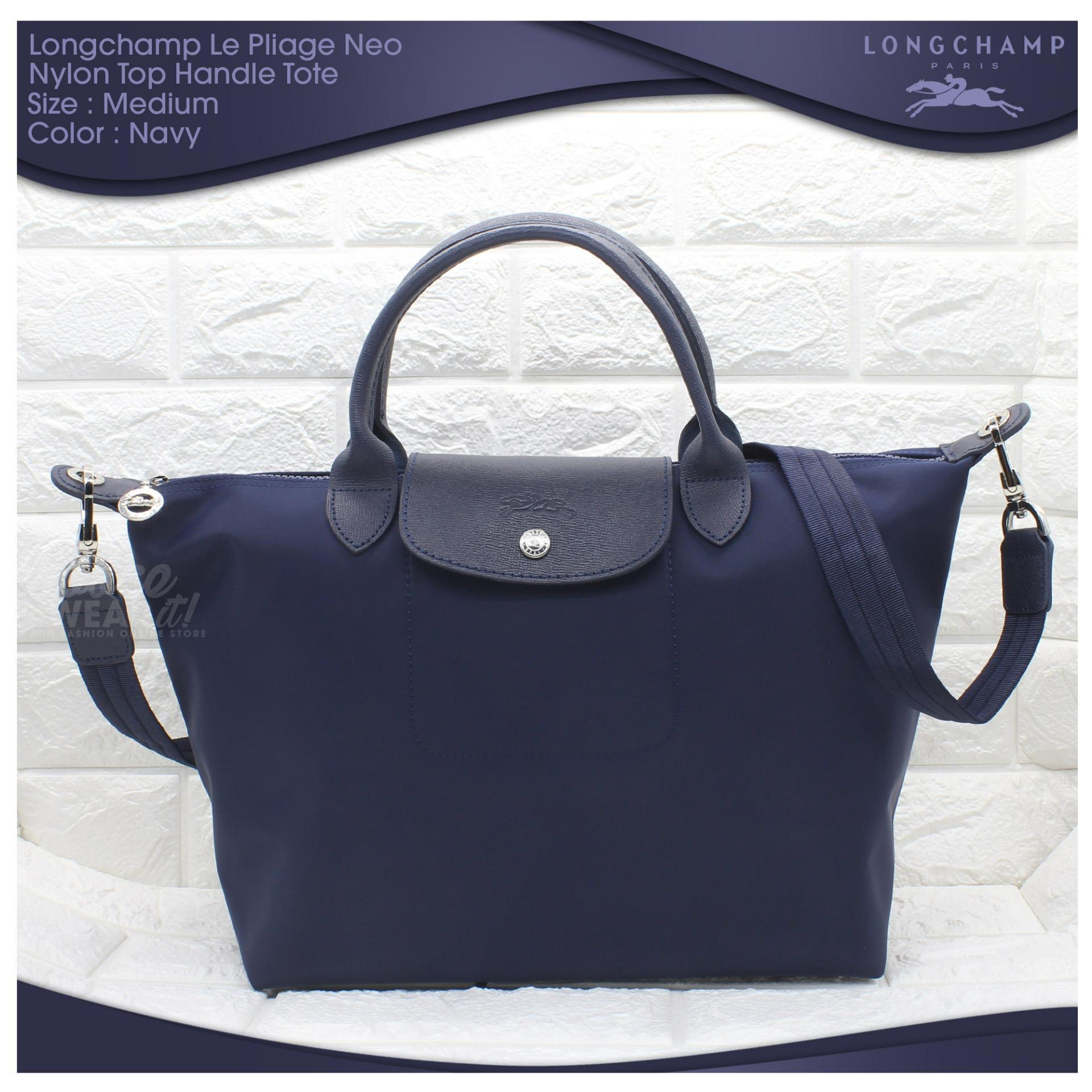 Buy Sell Cheapest Made In France Best Quality Product Deals Longchamp Neo Medium Black Authentic Le Pliage Top Handle Tote Navy Blue