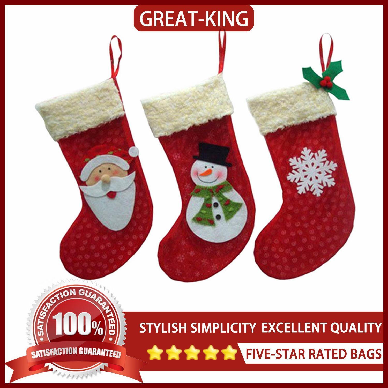 great king 3pcs christmas socks santa claus candy gift bag xmas tree decor