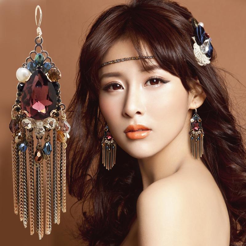 Bohemian Tels Large Earrings Long Crystal Ear Cuff Handmade Hook Women South Korea 925 Sterling