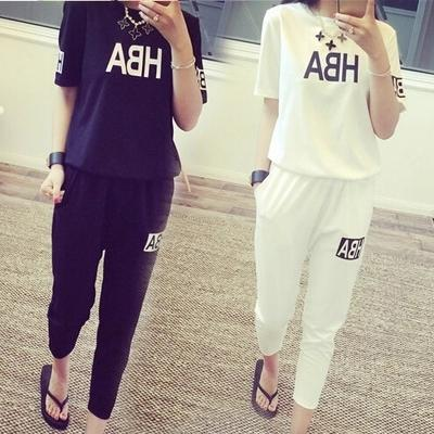 350f40ea9f 2017 Summer New Style Short-sleeved Top + Capri Pants Set Lettered Trend  Sports Leisure