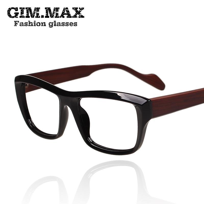 b316777625 Gimmax Japan Imitated Wood Legs Glasses Men And Women a Vintage Plain  Glasses Black Box Glasses