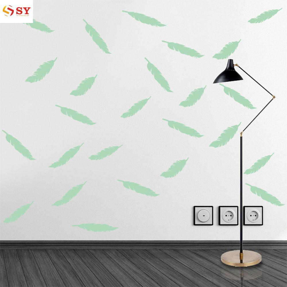So Young Luminous Feathers Wall Stickers Lovely Creative Night Glow Wallpaper Festival Gift PVC - intl