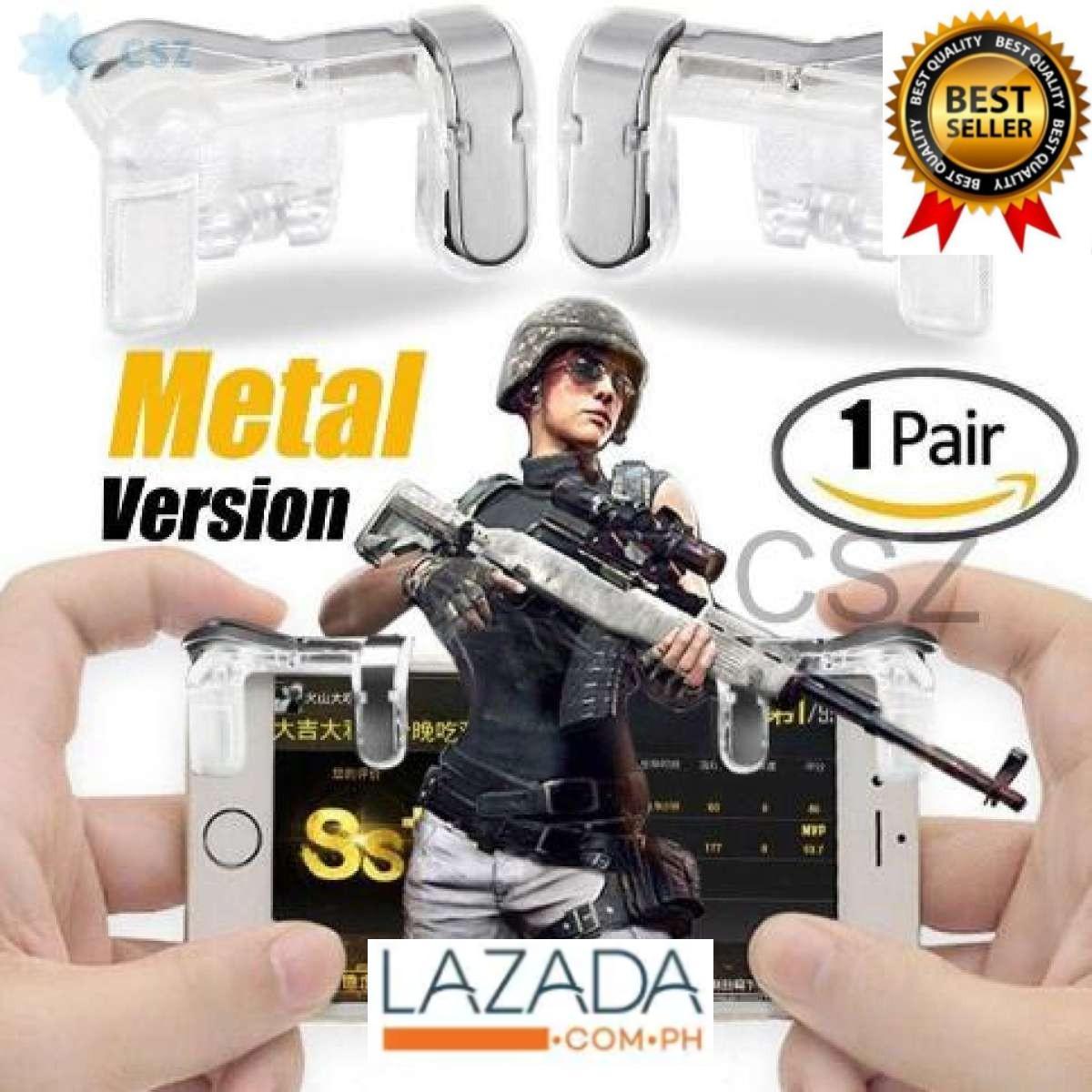 Metal Transparent Gaming Trigger L1R1 Mobile Phone PUBG Battle Grounds  Metal Trigger ROS Target Fire Button Shooter Controller L1 R1 CSZ