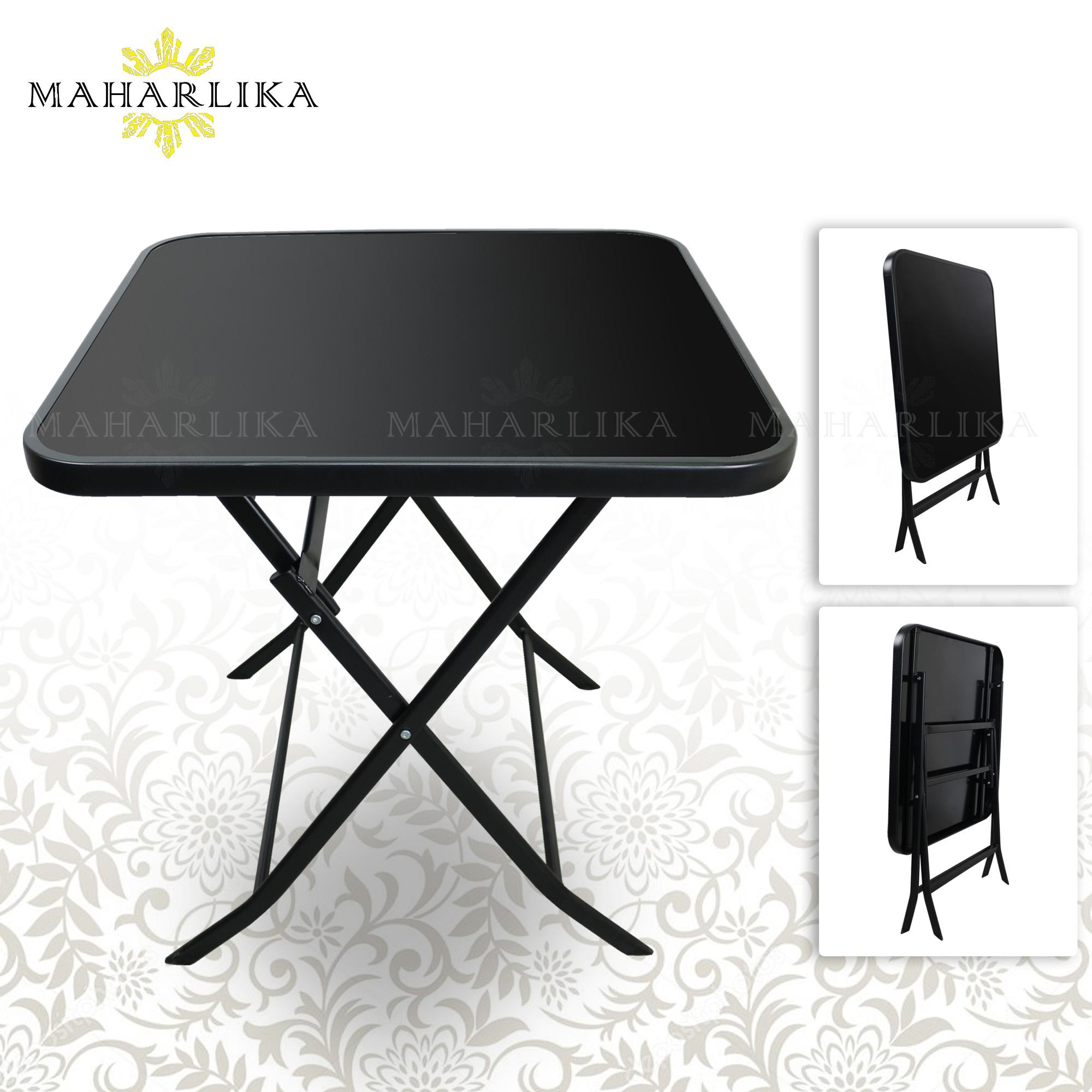 Maharlika 60x60x70cm Foldable Tempered Glass Dinning Table Black