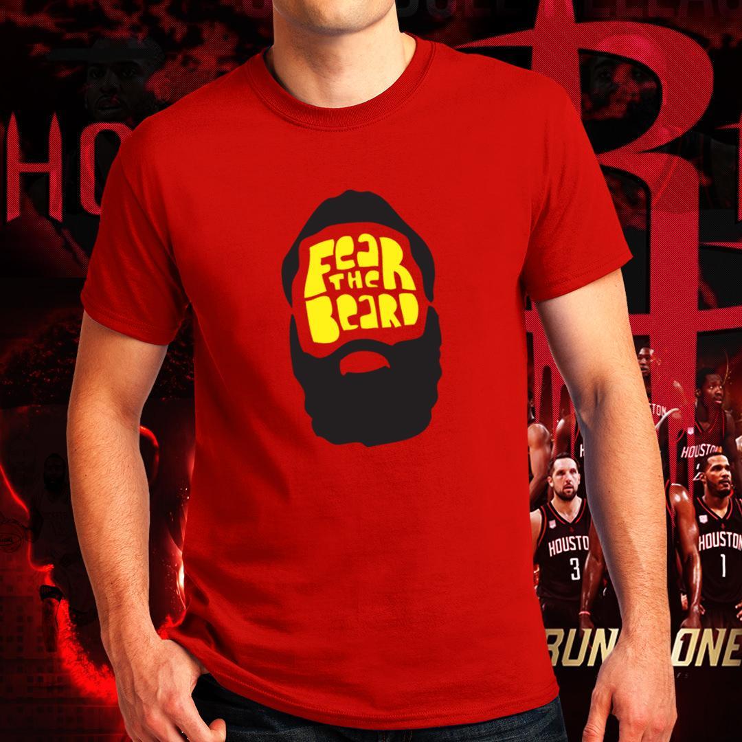 8317ebe6e532 Houston Rockets NBA Basketball Run As One James Harden Fear the Beard Tshirt  for Men