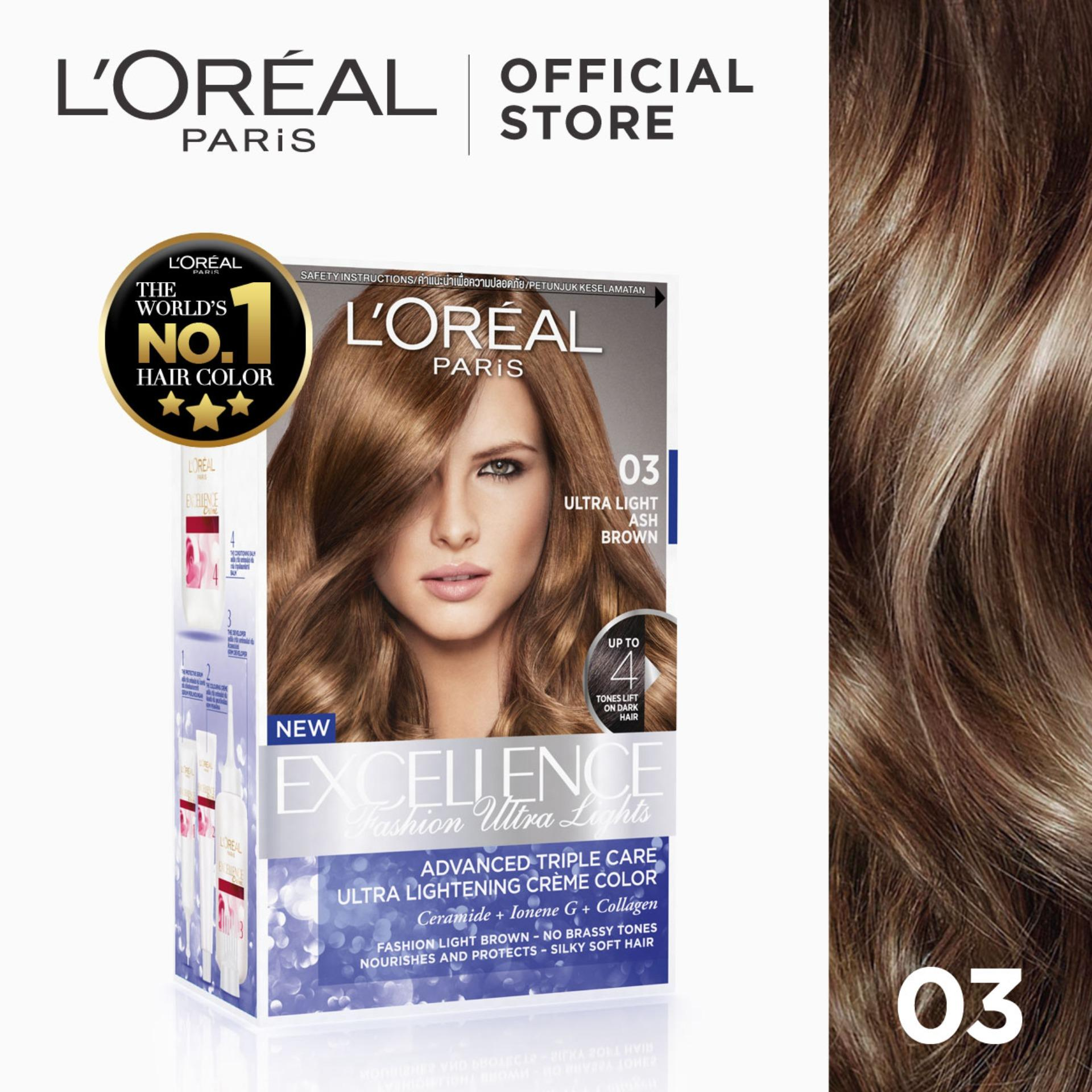Excellence Fashion Ultra Lights Hair Color - 03 Ash Brown [worlds No.1] By Loreal Paris [w/ Protective Serum & Conditioner] By Loreal.