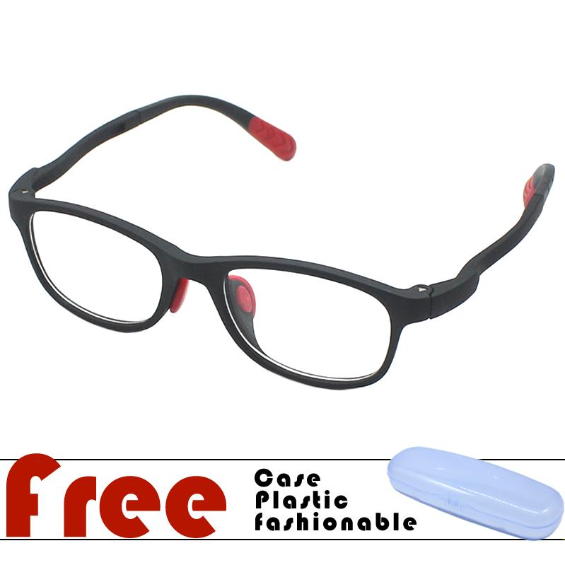 Kids Flexible Replaceable Clear Lens With Free Case - Black By Fashion Portal.