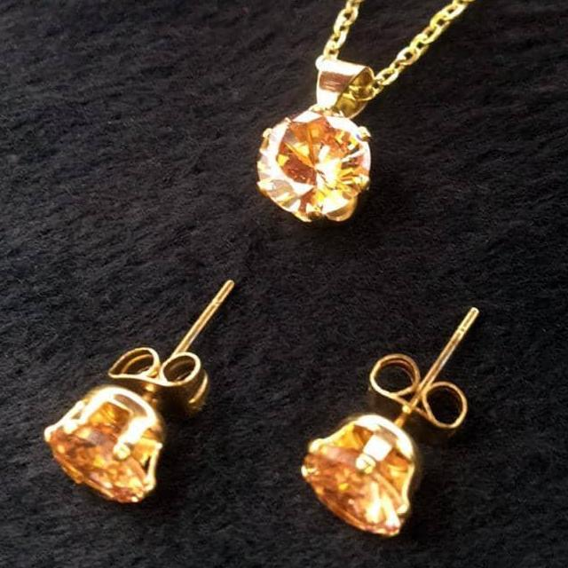 14K Gold Plated Stainless Steel November Birthstone Topaz and Citrine Earrings and Necklace Set