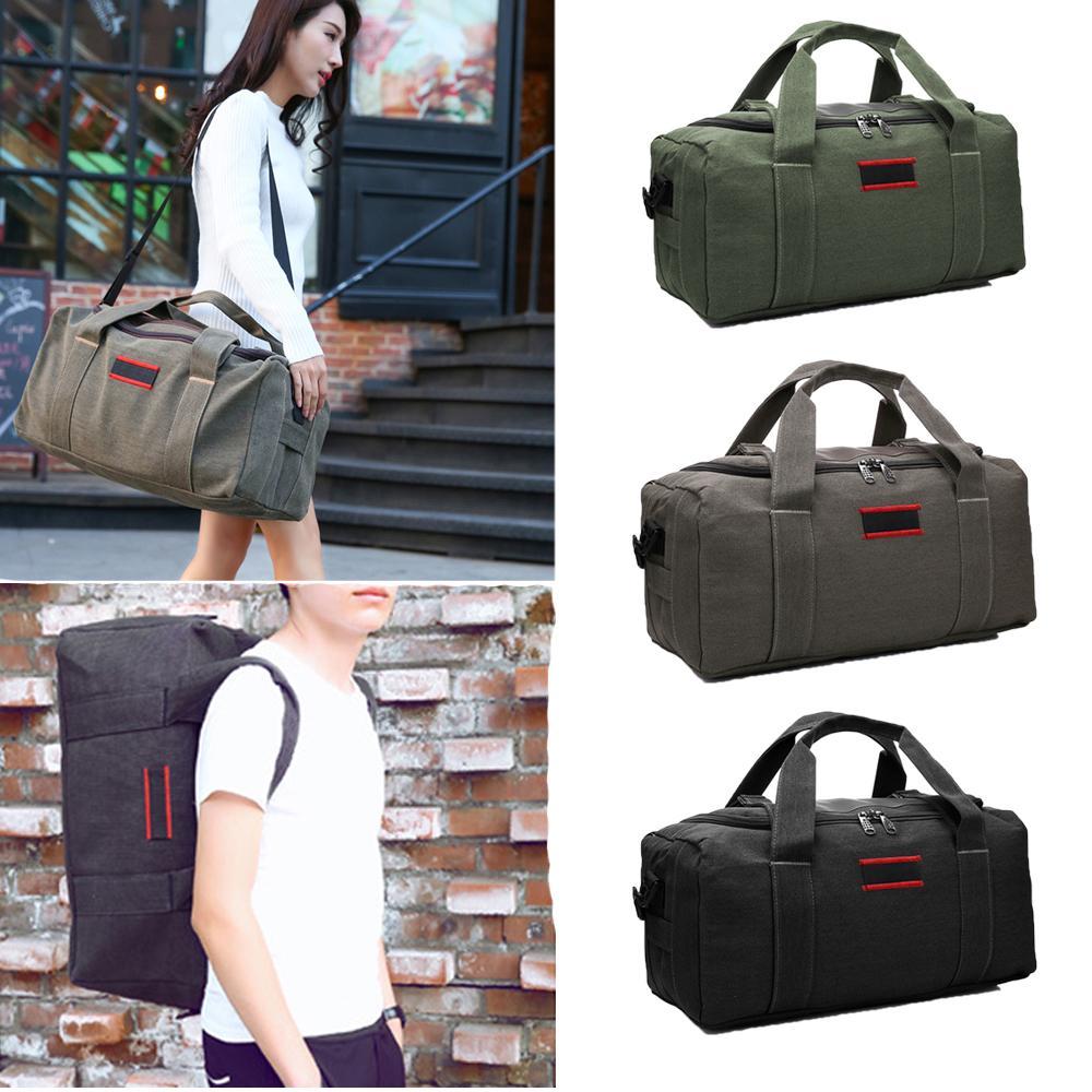 a8864cfe73 Durable Large Capacity Canvas Travel Duffle Bag Sports Gym Camping  Oversized Shoulder Bag Tote Handbag Weekender