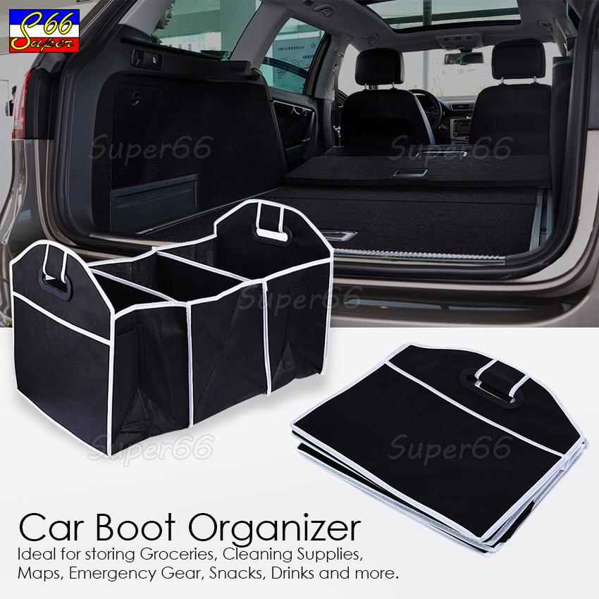 Car Boot Organizer Collapsible Storage Basket Fordable For Trunk (Black)